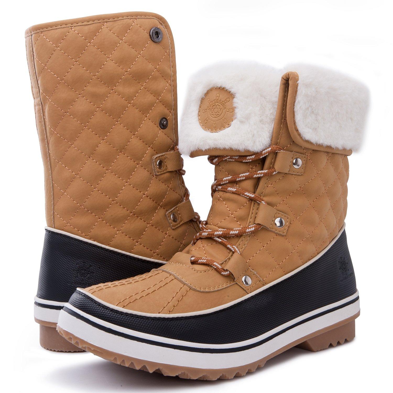 GLOBALWIN Women's 1632 Black Grey Snow Boots B071W1HG57 5.5 B(M) US|1706tan