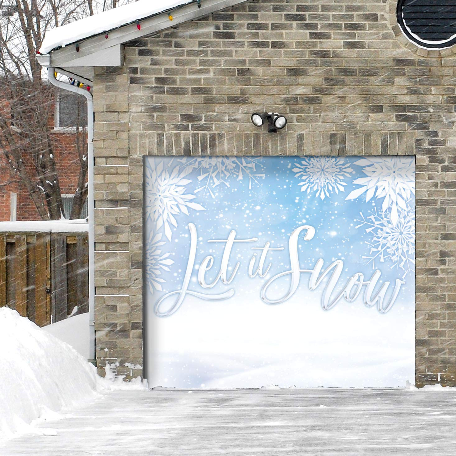 Victory Corps Let it Snow - Holiday Garage Door Banner Mural Sign Décor 7'x 8' Car Garage - The Original Holiday Garage Door Banner Decor