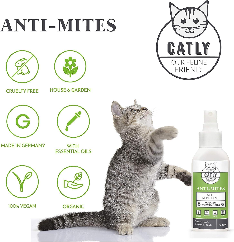 CATLY Repelente de ácaros Natural para Gatos antiácaros | 100 ml | sin DEET | orgánico y Vegano | aceites Esenciales, sin Productos químicos: Amazon.es: Productos para mascotas