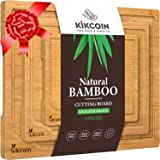 Bamboo Cutting Board, (3-Piece Set) Kitchen Chopping Board with Juice Groove and Handles Heavy Duty Serving Tray Organic…