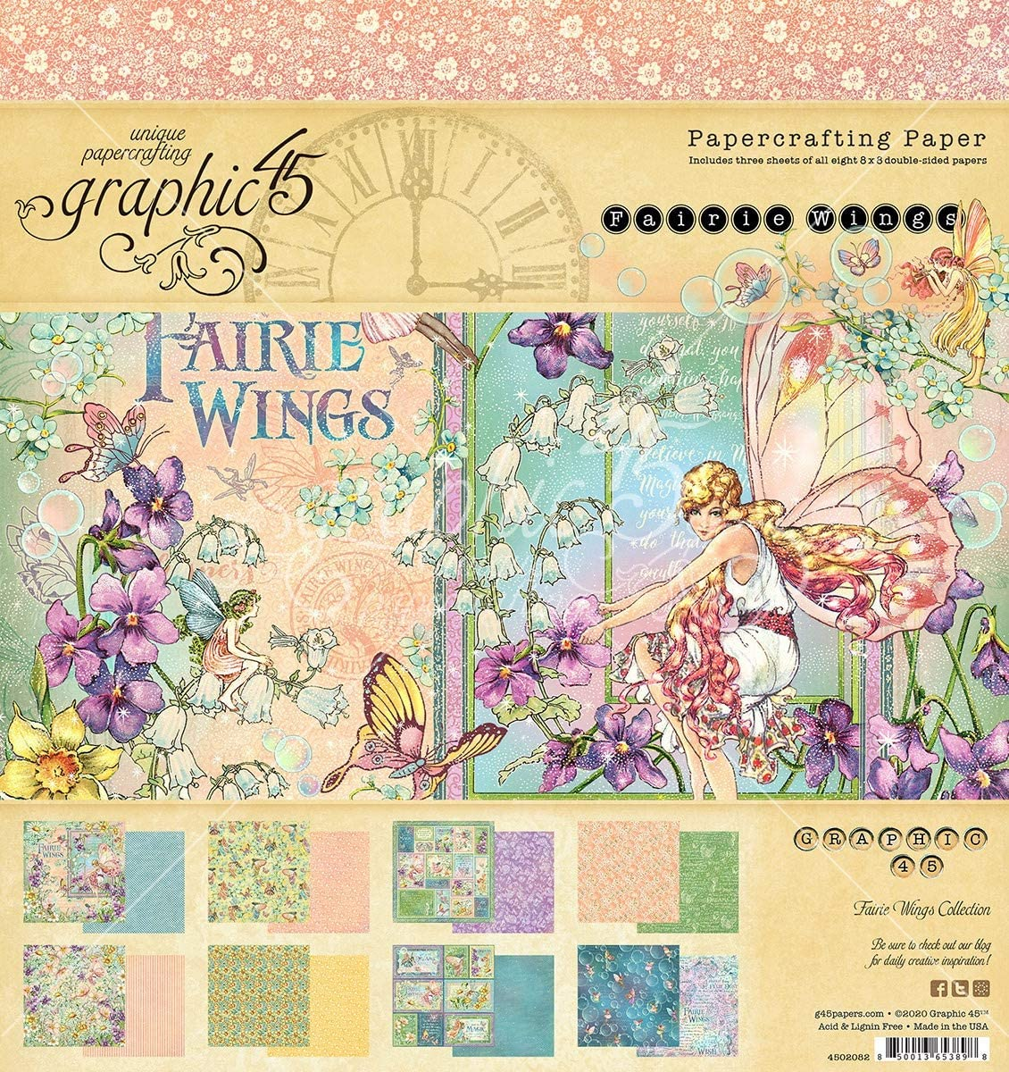 GRAPHIC 45 Fairie Wings Paper 8X8 PAD