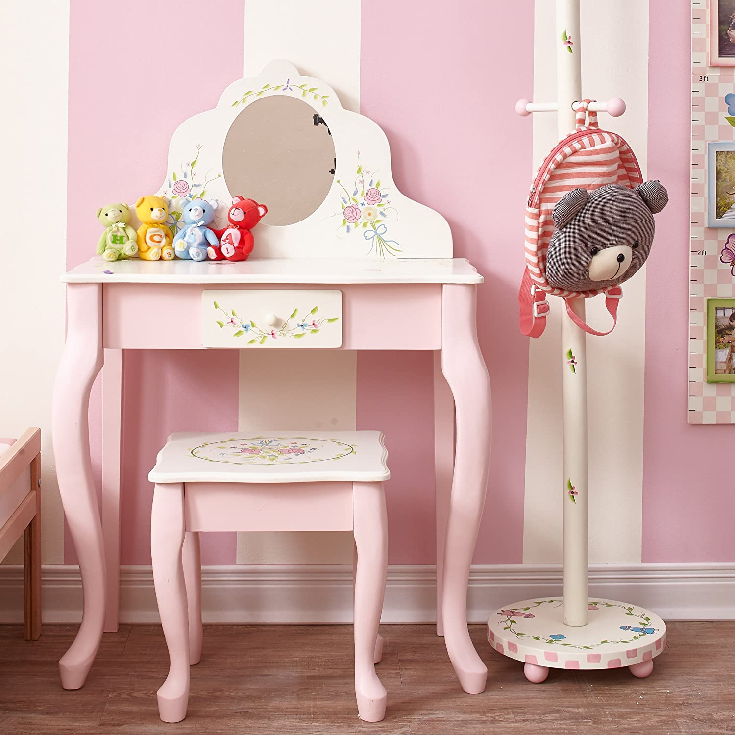 Fantasy Fields – Bouquet Thematic Kids Classic Vanity Table and Stool Set with Mirror Imagination Inspiring Hand Crafted Hand Painted Details Non-Toxic, Lead Free Water-based Paint