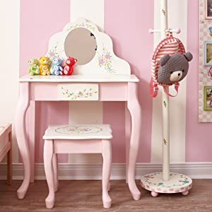 Fantasy Fields - Bouquet Thematic Kids Classic Vanity Table and Stool Set with Mirror | Imagination Inspiring Hand Crafted & Hand Painted Details Non-Toxic, Lead Free Water-based Paint