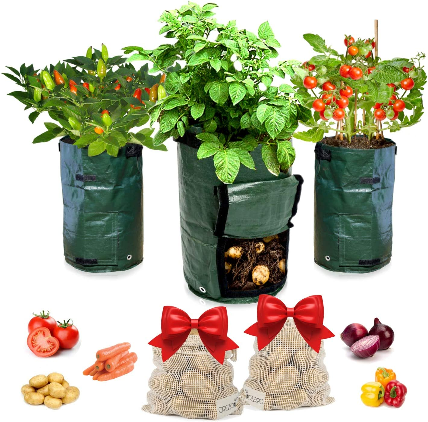CREZCO 3-Pack 10 Gallons Potato Grow Bags & 2-Pack Gift Eco-Friendly Reusable Washable Mesh Storage Bags, Waterproof, Handles, Access Flap, Vegetable Garden, Planter for Carrots, Onions, Beet, Tomato