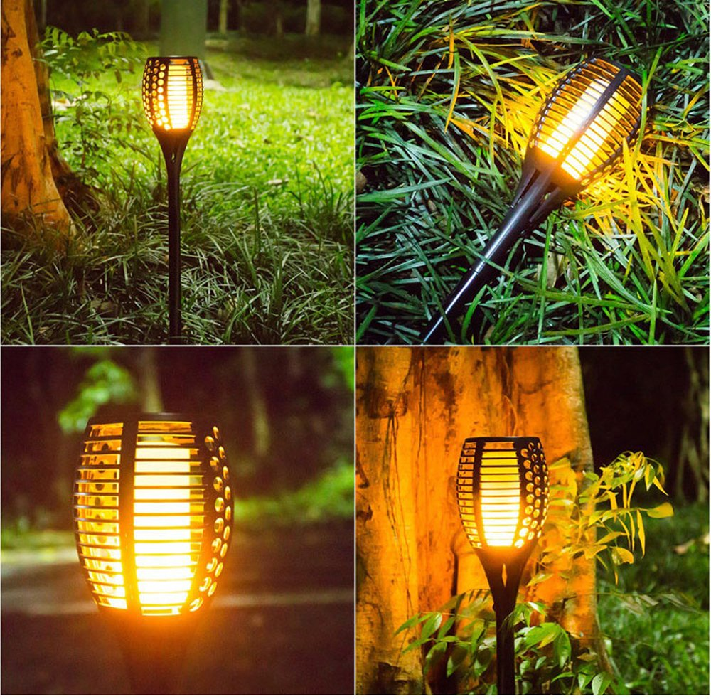 Solar Torch Light Dancing Pathway Lighting Outdoor Waterproof Flickering Landscape Decoration Lighting Dusk to Dawn Auto On/Off Security Warm Lamp by Smartbot (Image #4)
