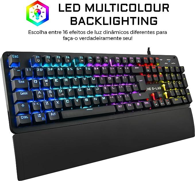 THE G-LAB Keyz Carbon E - O Teclado Gaming Mecânico PORTUGUÊS – Teclado Gamer de Alto Desempenho de Interruptor Azul, Retroiluminação LED Multicolor, ...