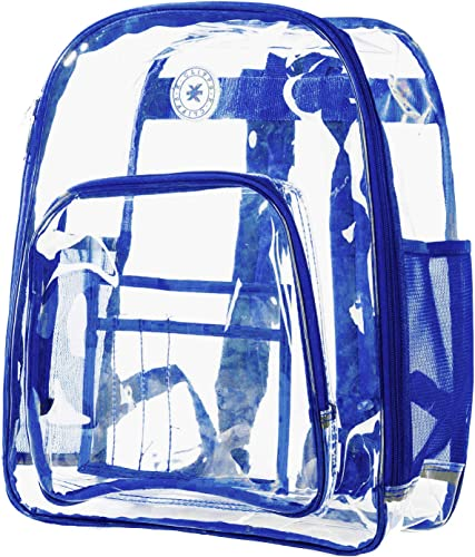 Heavy Duty Clear Backpack See Through PVC Stadium Security Transparent Workbag Royal Blue