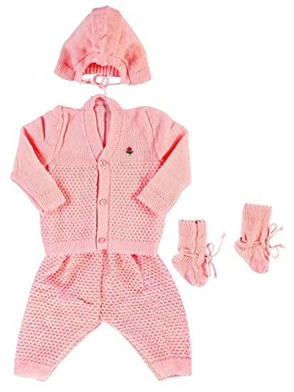 0030c5cbdf Montu Bunty Wear Baby s Woollen Sweater Full Suit (Pink