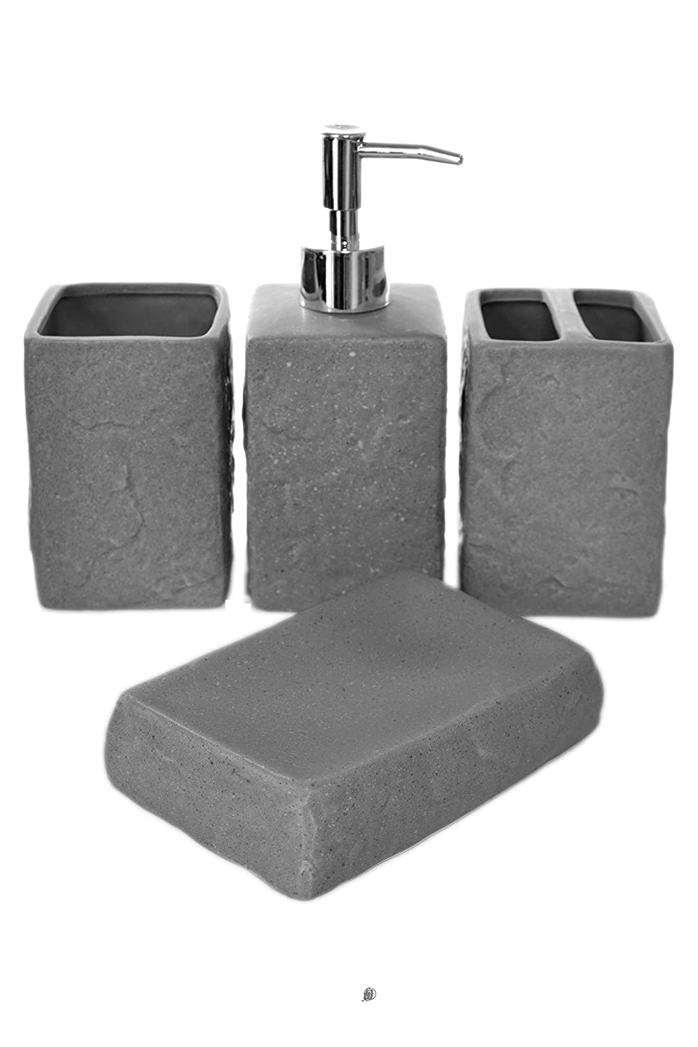 4 Piece Concrete-Look Grey/Silver Ceramic Bath Bathroom Accessory Set American Chateau