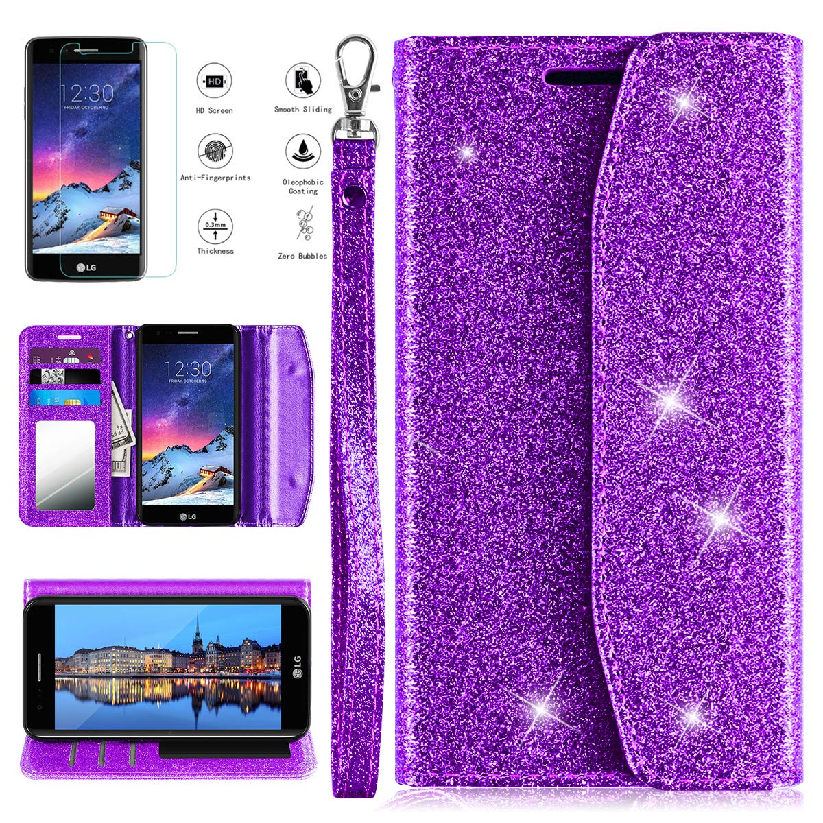 LG Aristo/Rebel 2 LTE/Rebel 3 LTE/Phoenix 3/Fortune/Risio 2/K8 2017/LG LV3(2017) Phone Case Wallet w/Screen Protector,PU Leather Shockproof Cover w/Kickstand Card Slots Mirror for Women/Girls,Purple