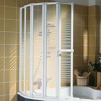 Schulte Duschwand Bien inkl. Handtuchhalter, 115x140 cm, 5-teilig faltbar,  Sicherheits-Glas Querstreifen Dekor, Profilfarbe alpin-weiß, ...