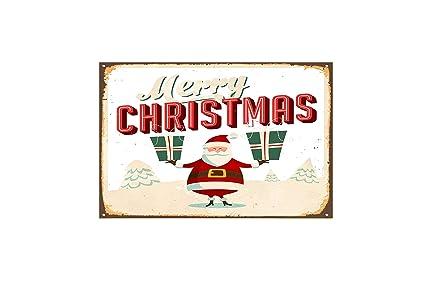 Christmas Signs.Amazon Com Fhdang Decor Merry Christmas Metal Sign