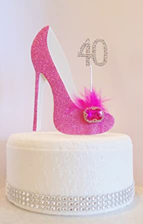 The Cake Wardrobe 40th Birthday Decoration Hot Pink Cerise Shoe Age 40