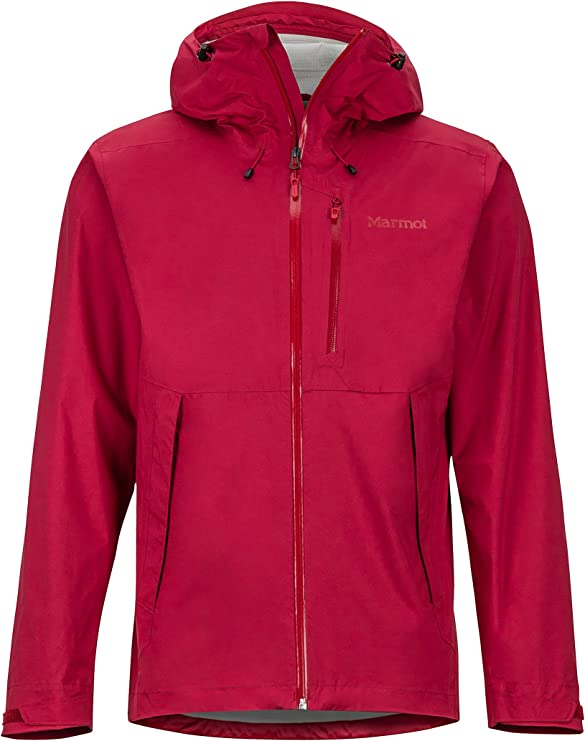 A photo of a pink jacket with hood and zipper that runs upward