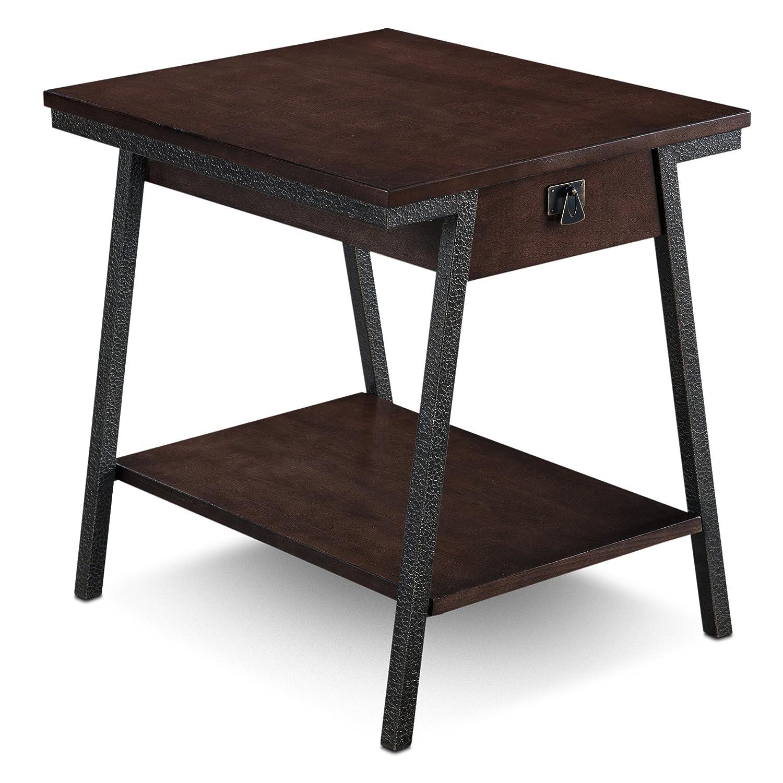 Leick 11407 Empiria Modern Industrial Drawer End Table - Walnut