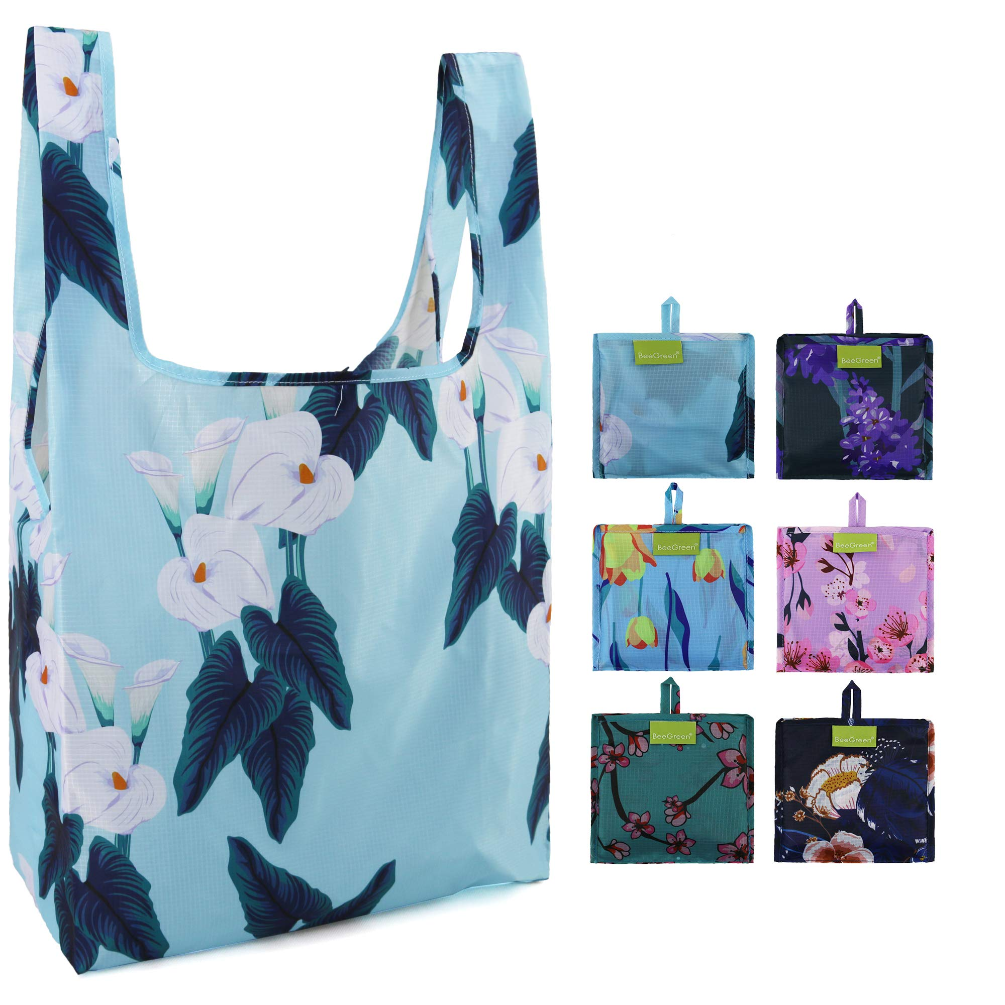 Reusable Grocery Bags Flower Pattern 5 Pack Reusable Shopping bags Foldable Mashine Washable