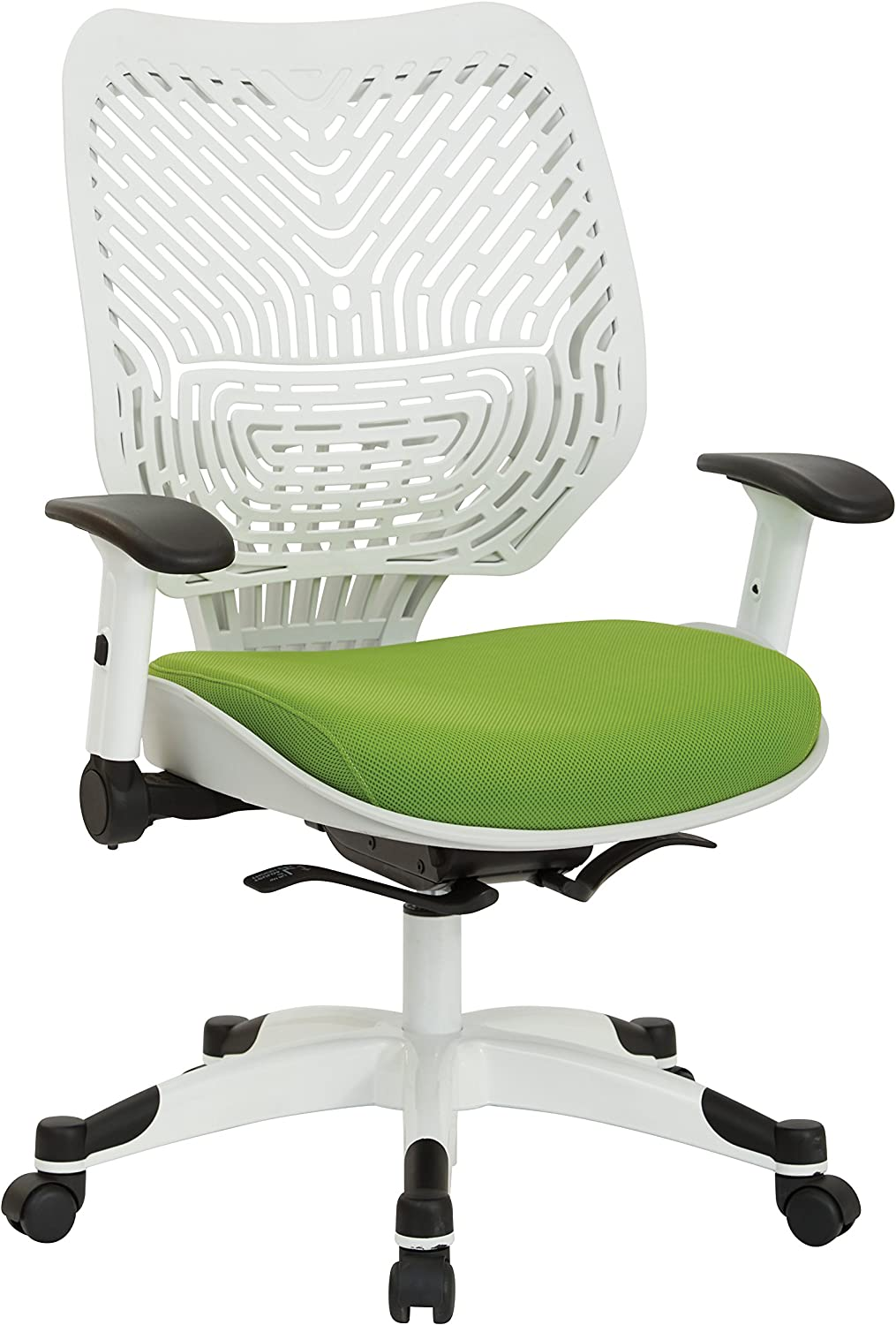 Office Star Pulsar SpaceFlex White Back Manager's Office Chair with Self Lumbar Support Mechanism, Adjustable Flip Arms, Coated Nylon Base and Green Mesh Seat