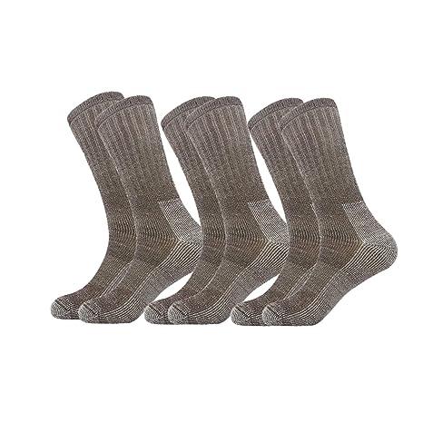 Caudblor Calcetines de lana Merino Blend Crew Calcetines de media pantorrilla t/érmica para hombres 3 pares