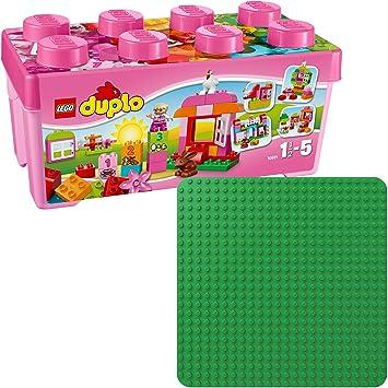 LEGO Duplo 2er Set 10571 2304 Große Steinebox Mädchen + Grüne Bauplatte