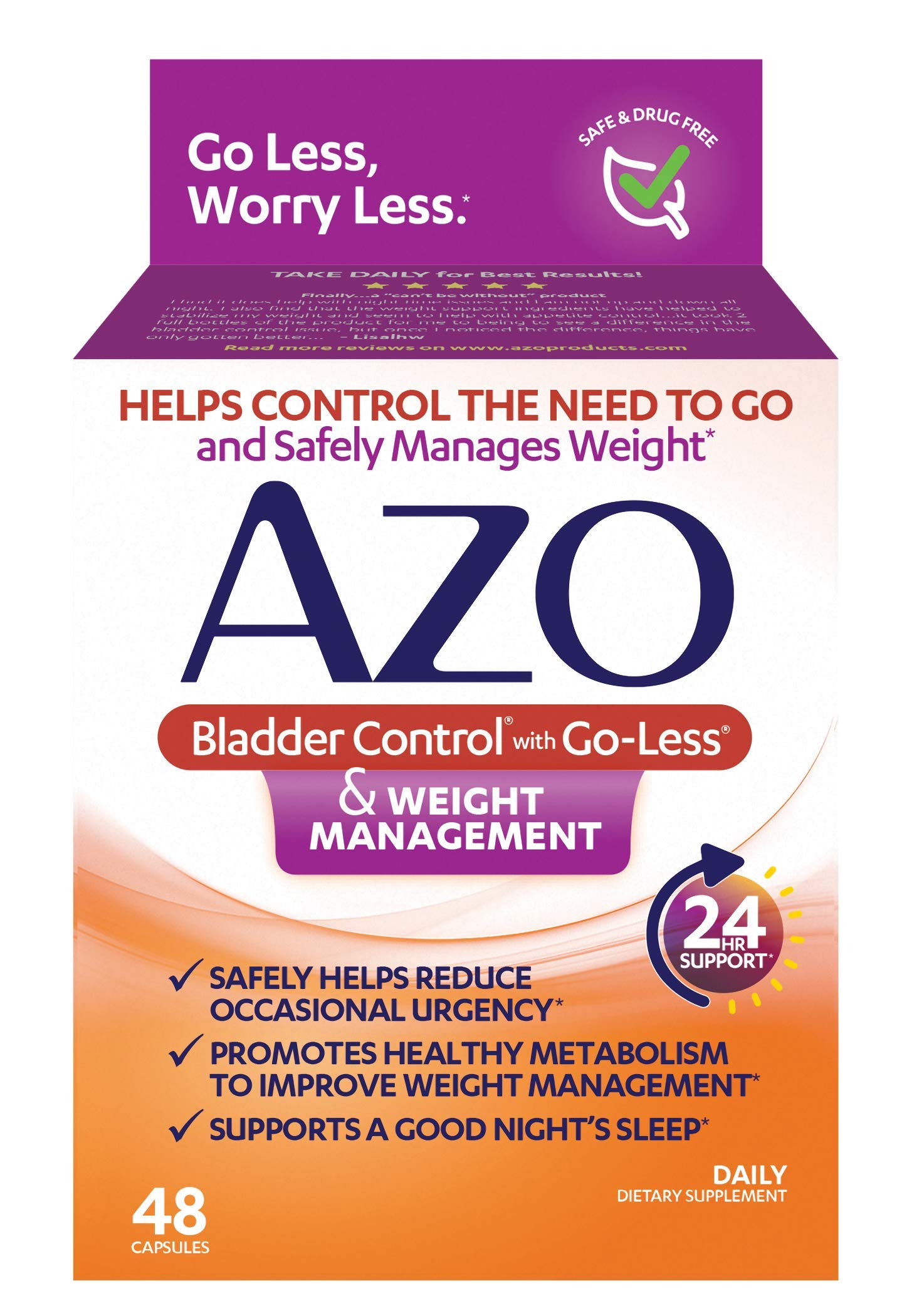 AZO Bladder Control with Go-Less® & Weight Management Dietary Supplement |  Safely Helps Reduce Occasional Urgency* | Promotes Healthy Metabolism* | Supports a Good Night's Sleep* | 48 Capsules by AZO
