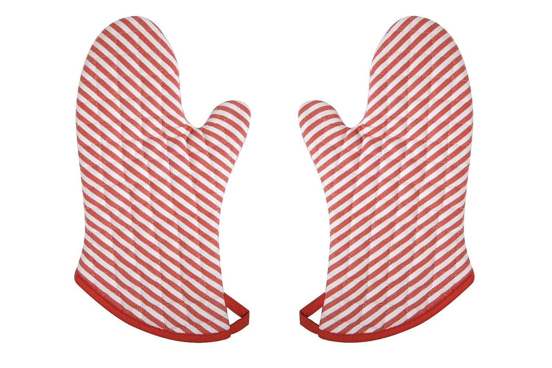 Now Designs Superior Oven Mitt, Narrow Stripe Red, Set of 2