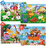 GINMIC Puzzles for Kids Ages 4-8, 4 Pack Colorful Wooden Jigsaw Kids Puzzles 40-80 Pieces Preschool Educational Learning Toys
