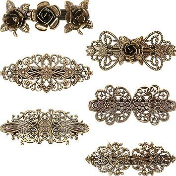 6pcs  Pin Hair Grip Hair Slide Bronze Vintage  Flowers Decor