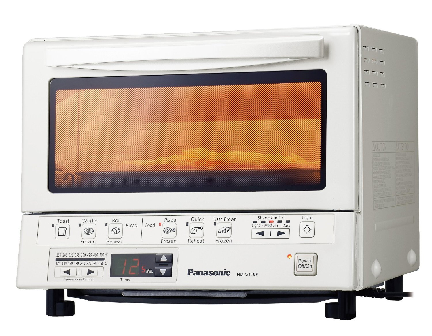 "Panasonic 1300 Watts FlashXpress Toaster Oven, Features Instant Double Infrared Heating, with 6 Illustrated Preset Buttons and Automatically Calculates Cooking Time, Includes a Digital Timer with Reminder Beep and a 9"" Square Inner Tray with Removable Crumb Tray, White"