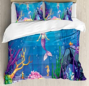 Ambesonne Mermaid Duvet Cover Set Queen Size, Underwater World with Little Mermaid and Different Type of Fish Artwork, Decorative 3 Piece Bedding Set with 2 Pillow Shams, Ocean Blue