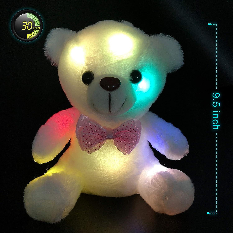 Teddy Bear Stuffed Animals Plush Toy Light Up LED Glowing Lovely Valentine Gift
