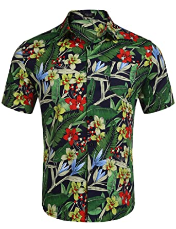 d905acb9 COOFANDY Mens Slim Fit Floral Print Short Sleeve Button Down Beach Hawaiian  Shirt (S,