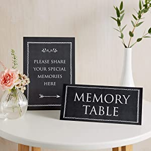 ANGEL & DOVE Set of 2 Black Card Signs: 'Memory Table' & 'Please Share Your Special Memories Here' - Ideal for Funeral Condolence Book, Memorial, Celebration of Life