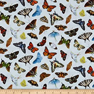 Elizabeth's Studio Butterflies and Moths Packed Fabric, Sky Blue, Fabric By The Yard