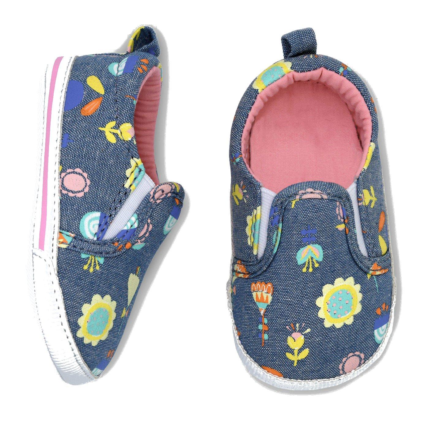 0-3 Months Baby Girls Slip On Crib Shoes Elastic Navy//Floral Denim Pink Inside