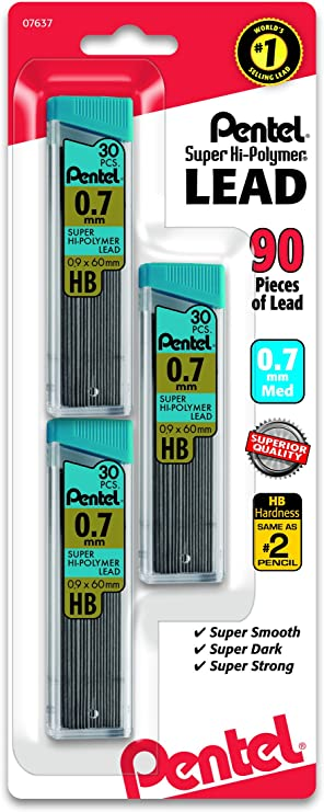 --HB-------2 tubes of lead for 1 price Pentel 0.7mm Lead