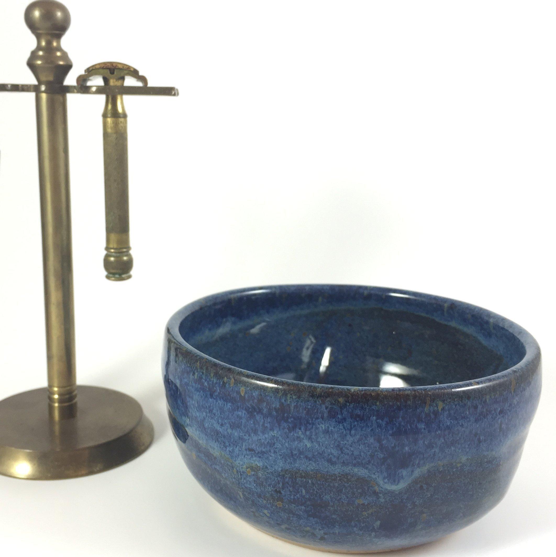 Handmade Large Blue Pottery Shaving Bowl for Men