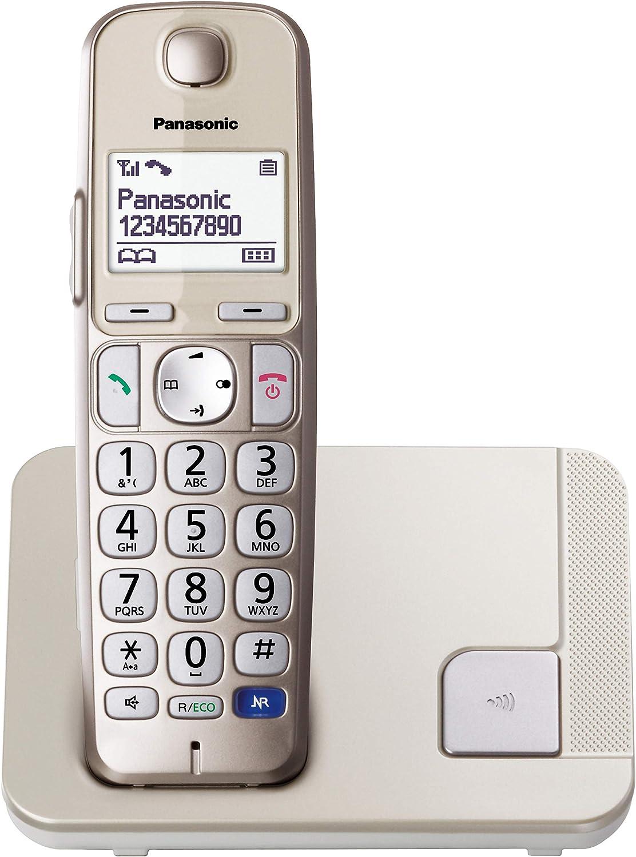 Panasonic KX-TGE210SPN -Teléfono Fijo Inalámbrico (LCD Grande, Teclas Grandes, Agenda de 100 Números, Bloqueo de Llamadas, Modo ECO, Compatible con Audífonos), Color Champán