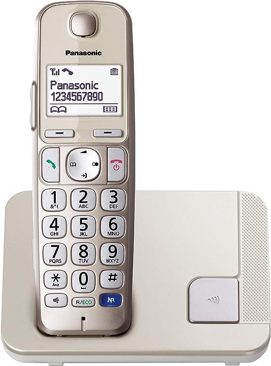 Panasonic KX-TGE210SPN -Teléfono Fijo Inalámbrico (LCD Grande, Teclas Grandes, Agenda de 100 Números, Bloqueo de Llamadas, Modo ECO, Compatible con Audífonos), Color Champán: Amazon.es: Electrónica