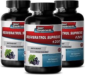 Resveratrol Supreme 1200mg Maximum Strength - Red Wine Pills (3 Bottles, 180 Capsules)