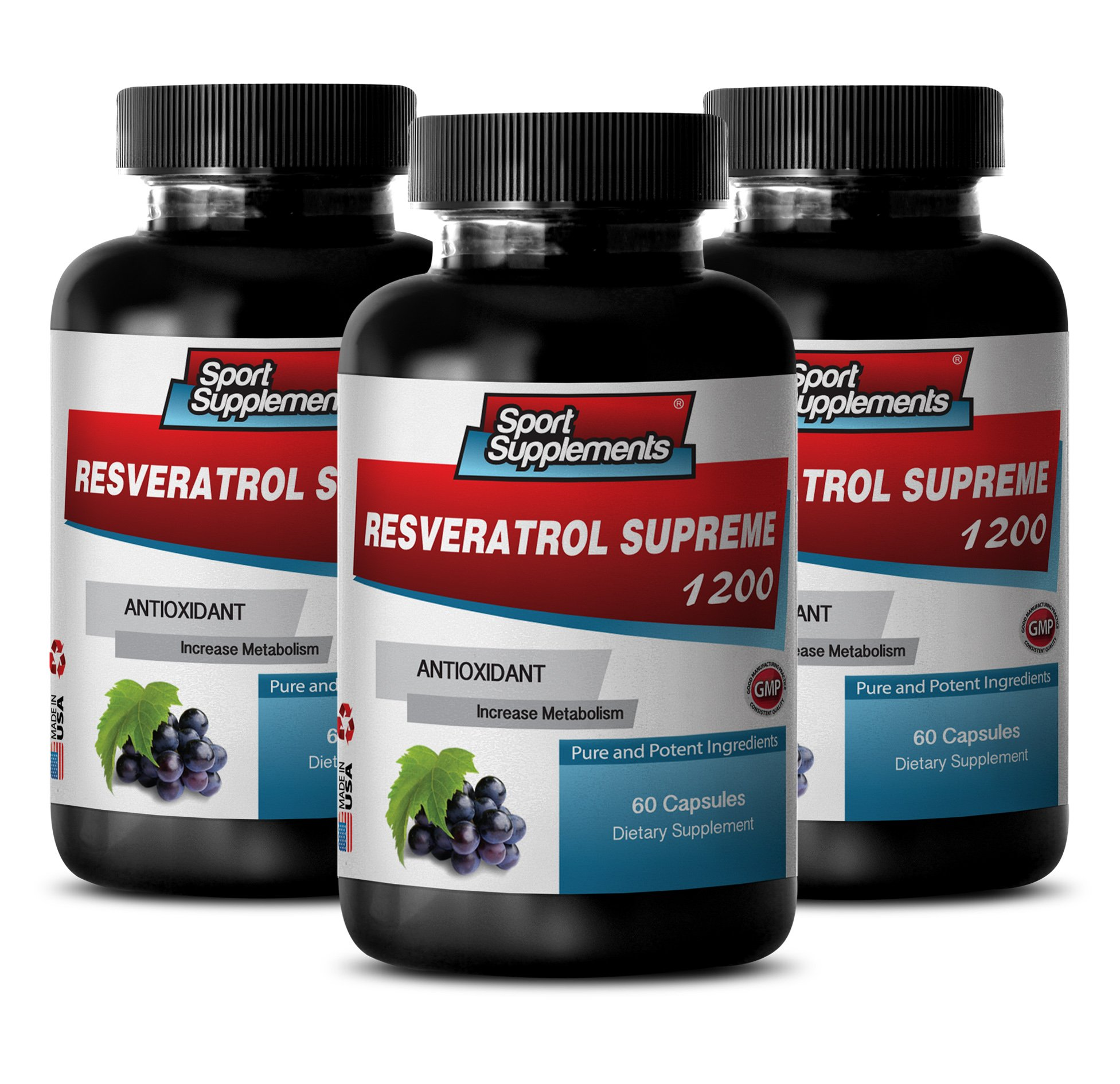 Antioxidant Healthy Blend 1200mg- Resveratrol Supreme - Maximum Strength - Red Wine Pills (3 Bottles, 180 Capsules) by Sport Supplements (Image #1)