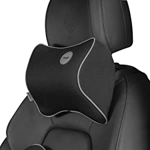Newgam Car Pillow - Car Neck Pillow for Neck Pain Relief and Cervical Support,Car Seat Neck Pillow with 100% Pure Memory Foam and Washable Cover,Car Headrest Pillow for Ergonomic Design-Obsidian Black