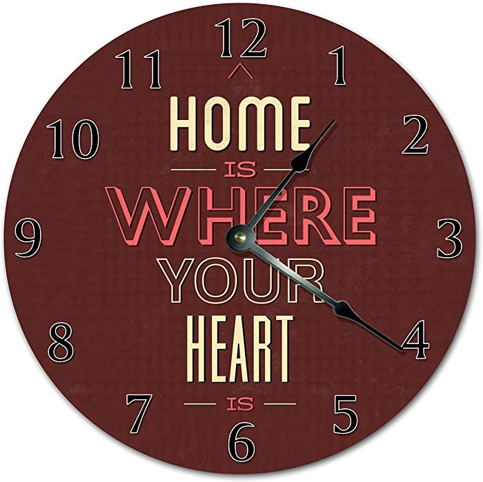 8Jo6Poe 12 Home is Where Your Heart is Clock Living Room Clock Large 12 Wall Clock Home Décor Clock 3601