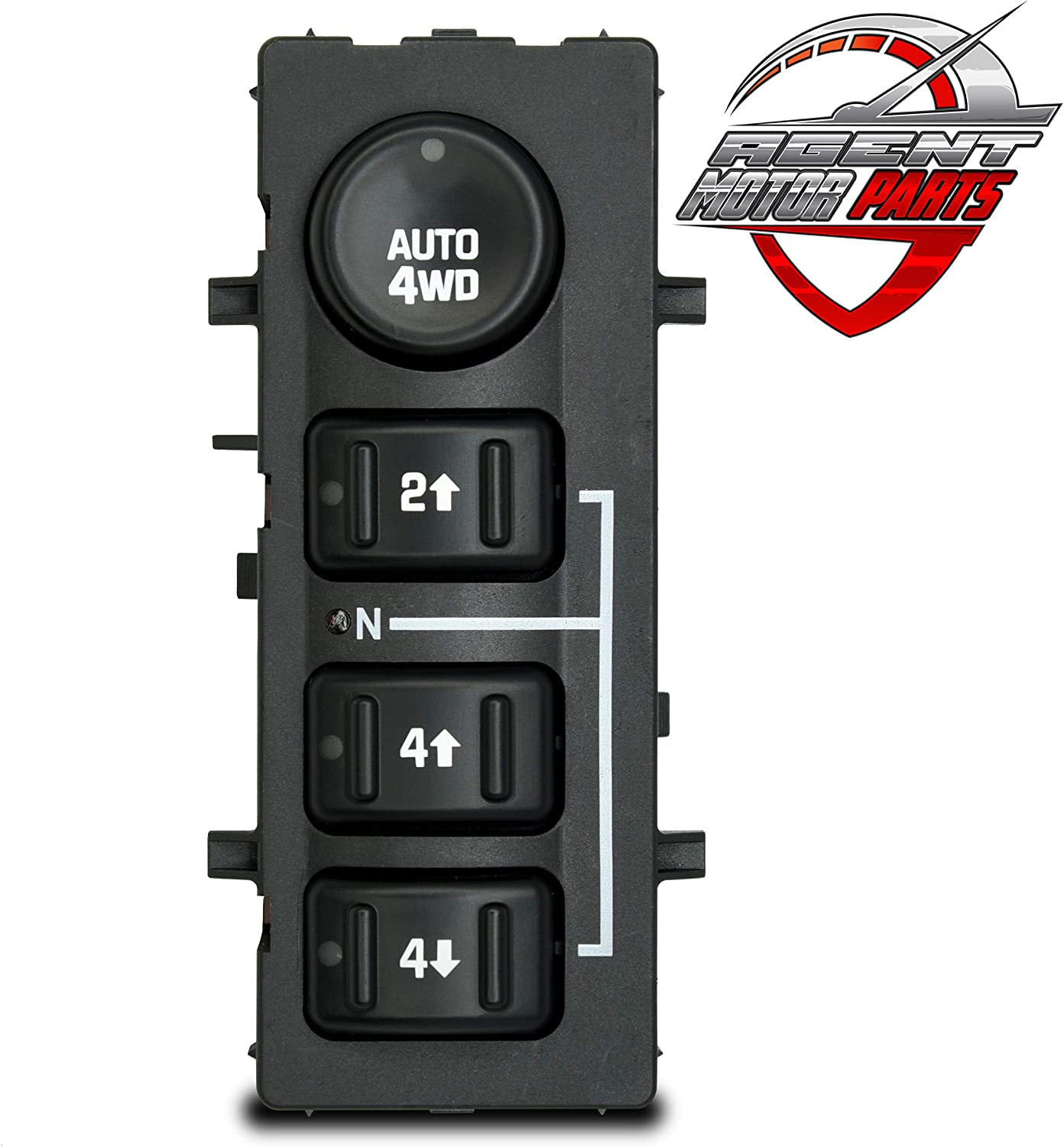 AUTO 4WD 4x4 4-Wheel Drive Switch - Fits Chevrolet Silverado, Chevy Suburban, Tahoe, GMC Yukon, Sierra 2003, 2004, 2005, 2006 - Replaces# 901-072 15136039 15164520 19259313 - Transfer Case Dash Button