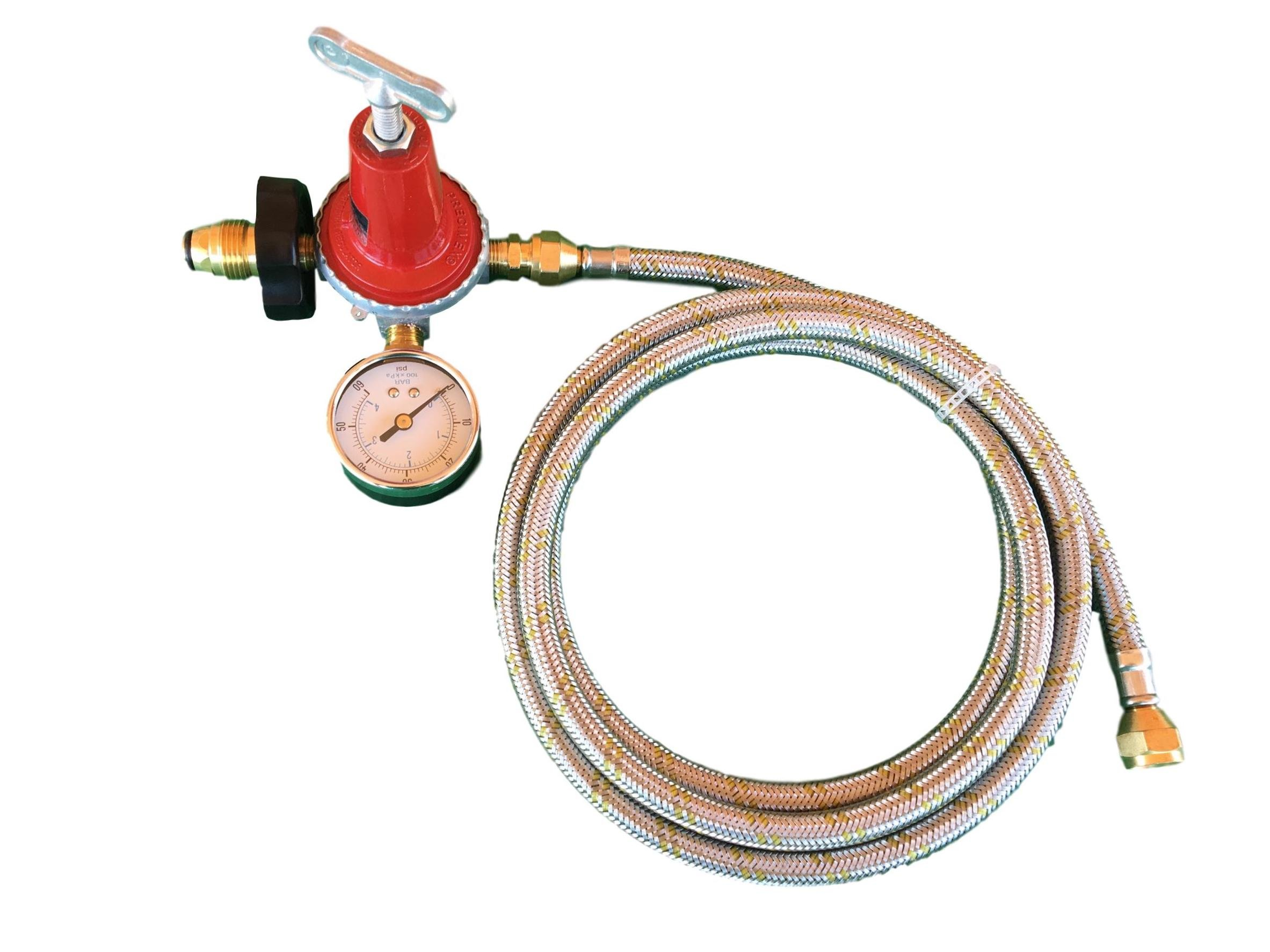 Adjustable 0 to 40psi Propane Regulator Soft POL LP Gas Gauge and 12ft Stainless Steel Hose
