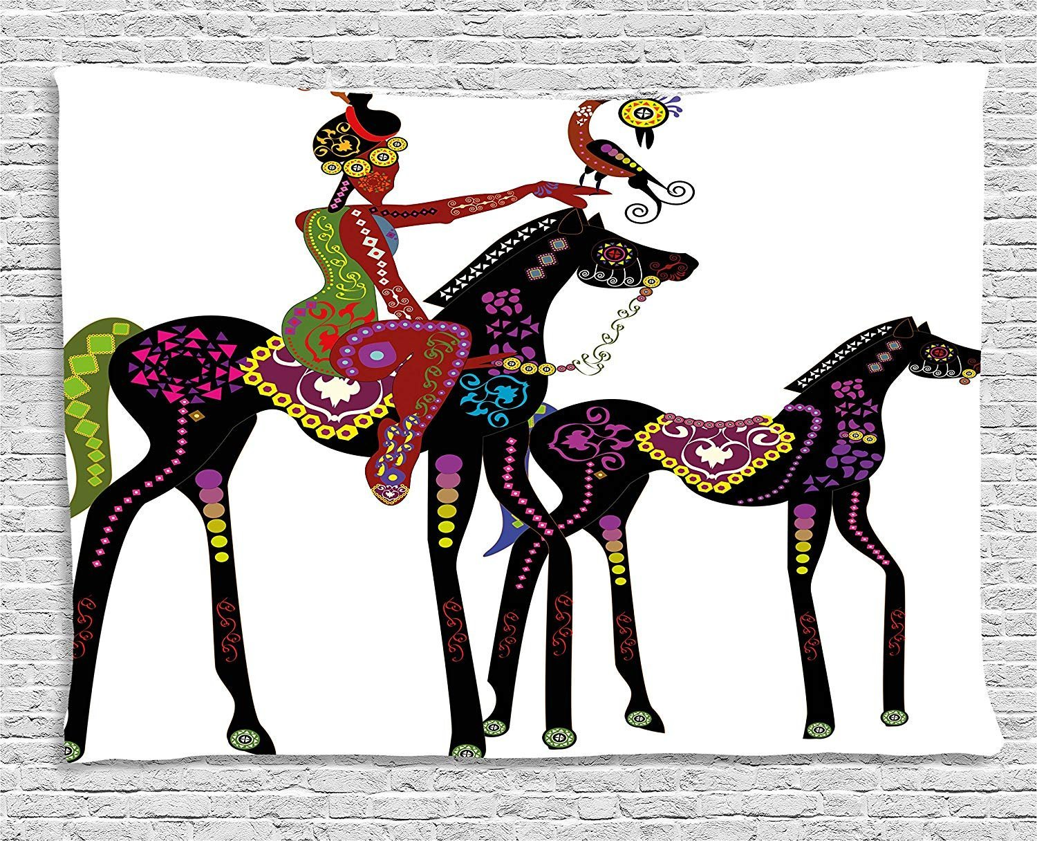 XHFITCLtd Ethnic Tapestry, Abstract Ancient Tribal Design of a Woman on a Horse with a Bird Animal Fun Image, Wall Hanging for Bedroom Living Room Dorm, 80 W X 60 L Inches, Multicolor