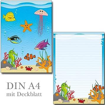 1 Schreibblock Schöne Unterwasserwelt 25 Blatt Format Din A4 Mit
