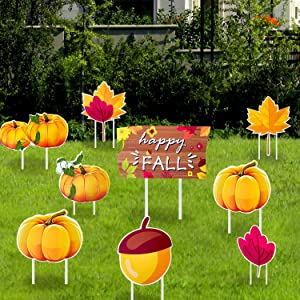 Iceyyyy Fall Thanksgiving Yard Sign with Stake - 9 Pack Rustic Fall Thanksgiving Pumpkin Yard Sign with Stake Autumn Harvest Outdoor Lawn Leaf Pine Nut Garden Yard Decor for Fall Thanksgiving Party