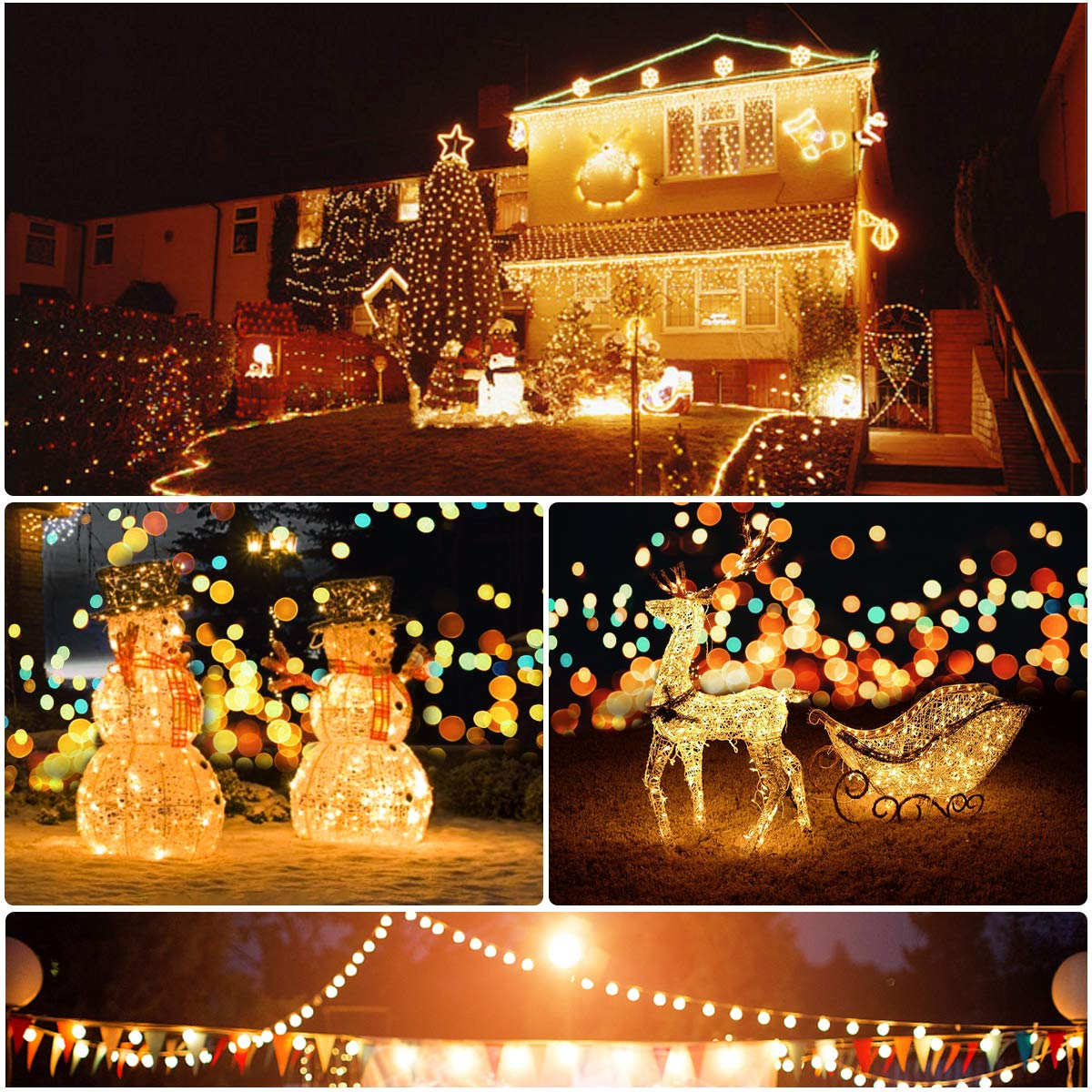 Morpilot Solar String Lights, 33ft 200LED Outdoor String Lights, Waterproof Decorative String Lights for Patio, Garden, Gate, Yard, Party, Wedding, Christmas (Warm White)
