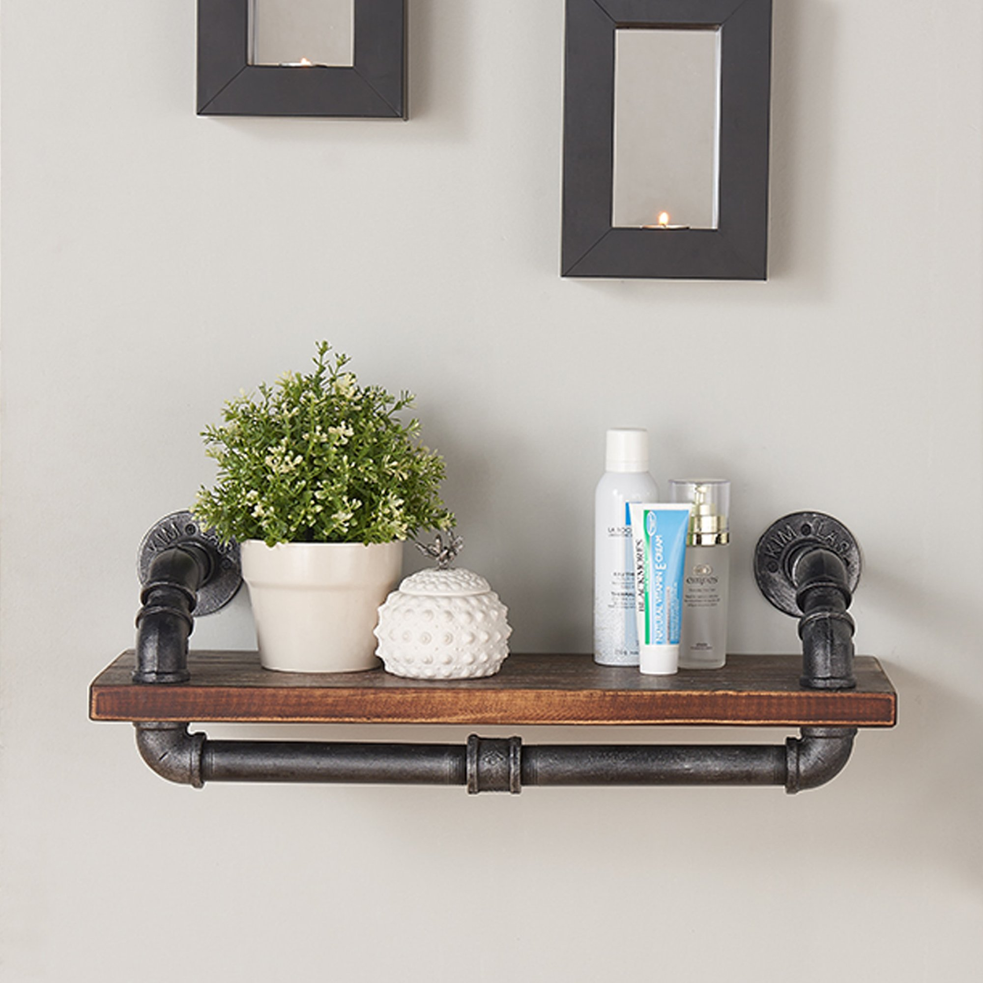 Armen Living LCISSH24 Isadore 24'' Accent Shelf in Walnut Wood Finish with Grey Piping by Armen Living (Image #2)
