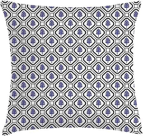 Imagen deABAKUHAUS Geométrico Funda para Almohada, Hojas rombo Folklórico, Colores Perdurables Tela Lavable, 40 x 40 cm, Indigo Gris carbón